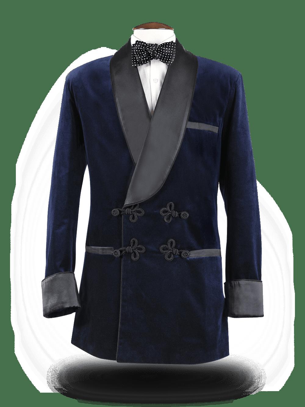 Smoking Jacket Bleu nuit / soie noir