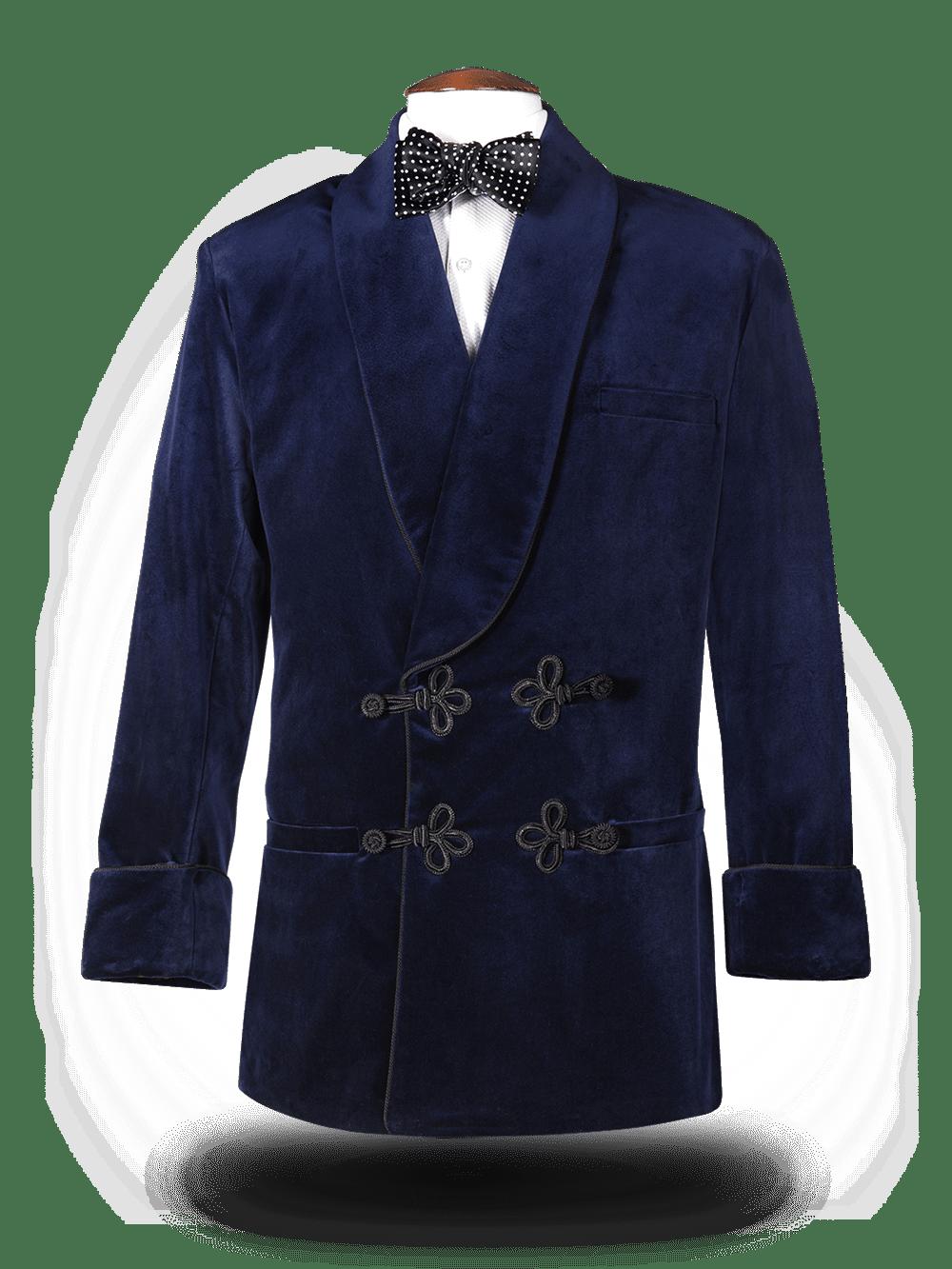 Smoking Jacket Bleu nuit revers bleu